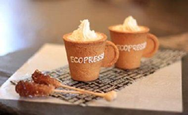 大阪にあるRJカフェのクッキーでできた食べられるエスプレッソがおいしく飲めるカップ